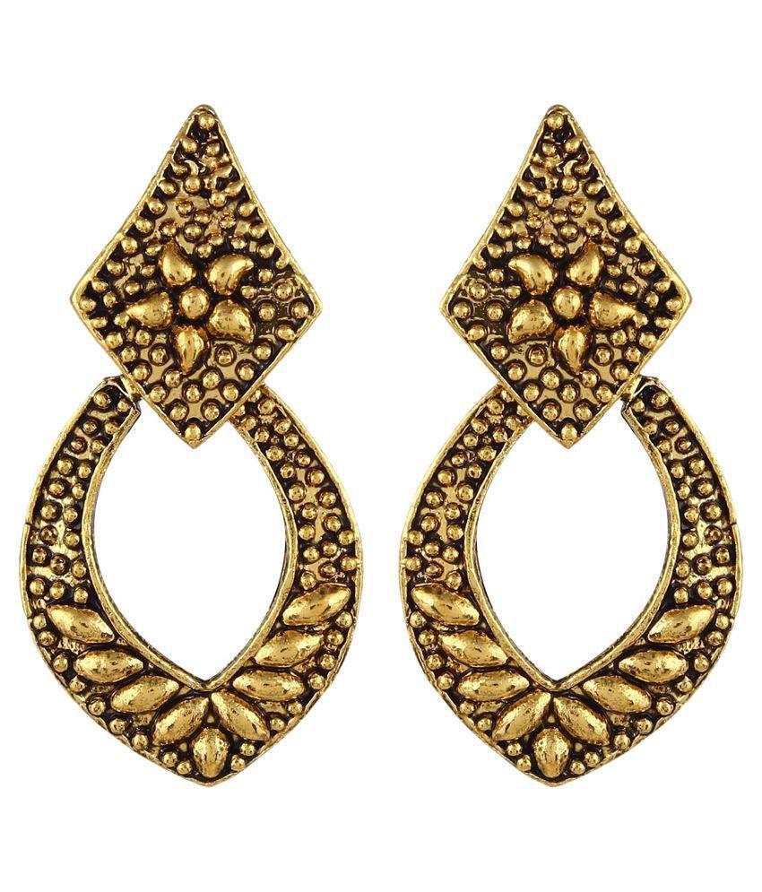 Crazytowear Golden Drop Designer Earrings