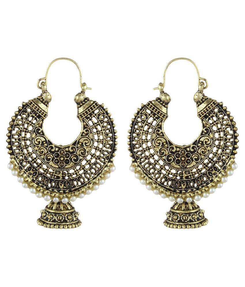 Crazytowear Golden Hoop Designer Earrings