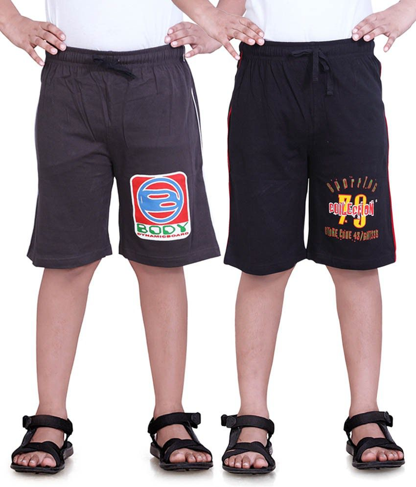 Dongli Black & Grey Cotton Shorts Pack Of 2