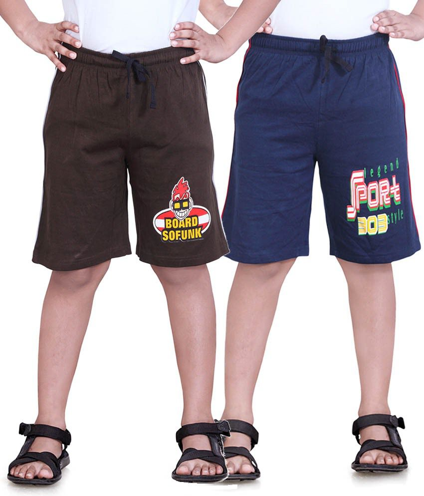 Dongli Navy Blue & Brown Cotton Shorts Pack Of 2