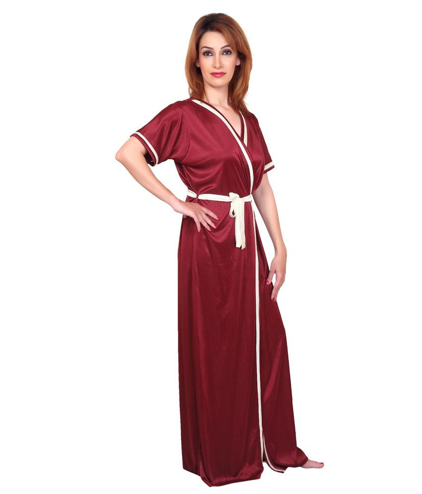 28e366ef3c Buy Fabme Maroon Satin six piece Nighty Online at Best Prices in ...