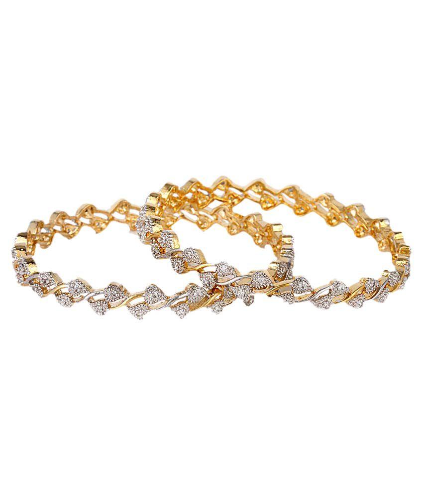 Penny Jewels Gold Designer American Diamond Casual Hit Bangles