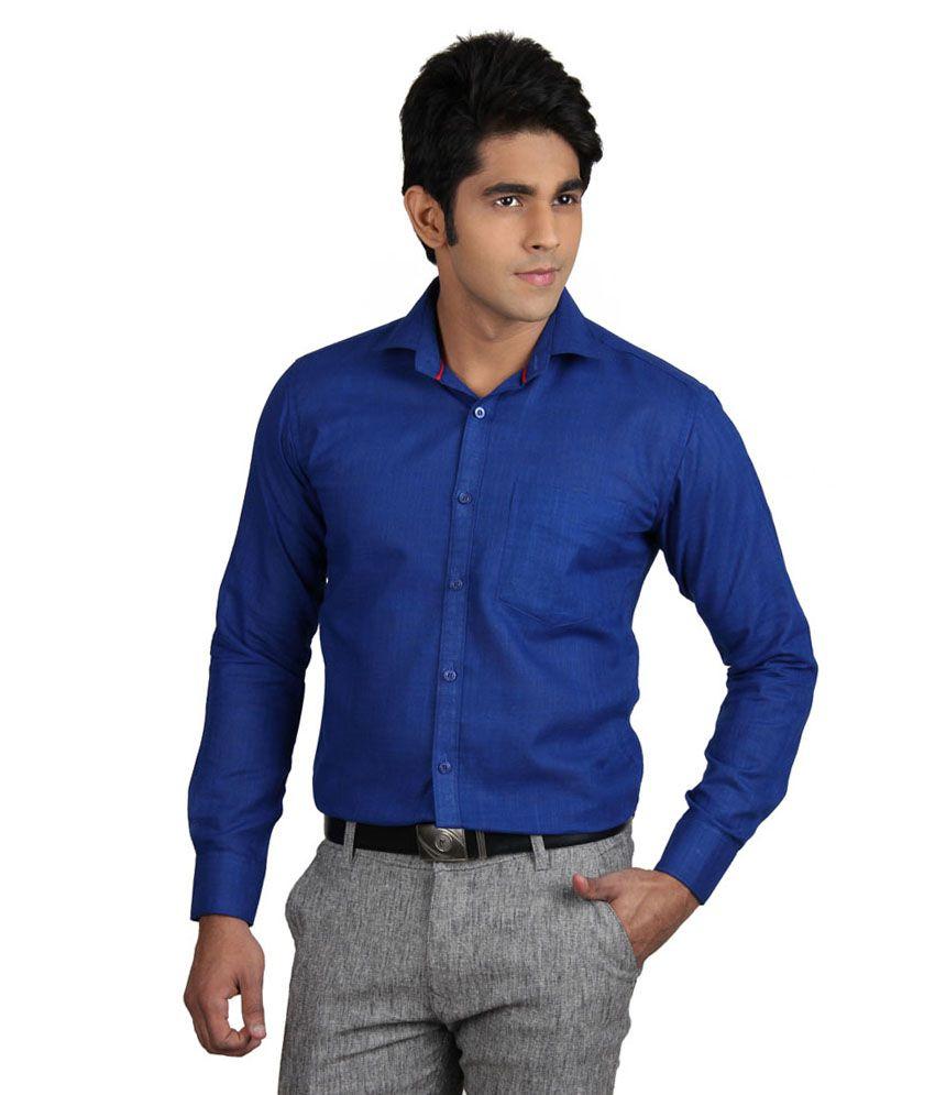 Viva Blue Cotton Full Sleeves Formal Shirt