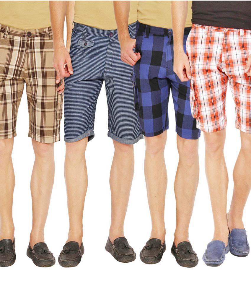Wajbee Multicolor 100 Percent Cotton Checks cargo Shorts - Combo Of 4