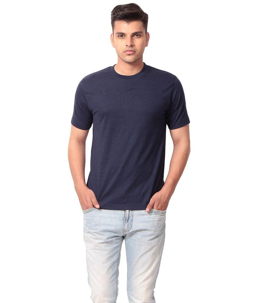 Aryaa International Navy Blue Cotton Blend T Shirt