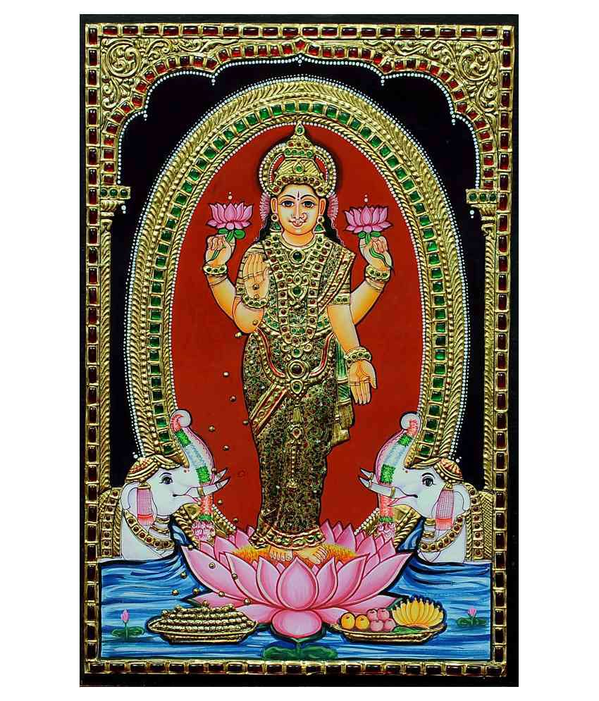 Flashing Rainbows Gold Foiled Standing Lakshmi Religious Painting
