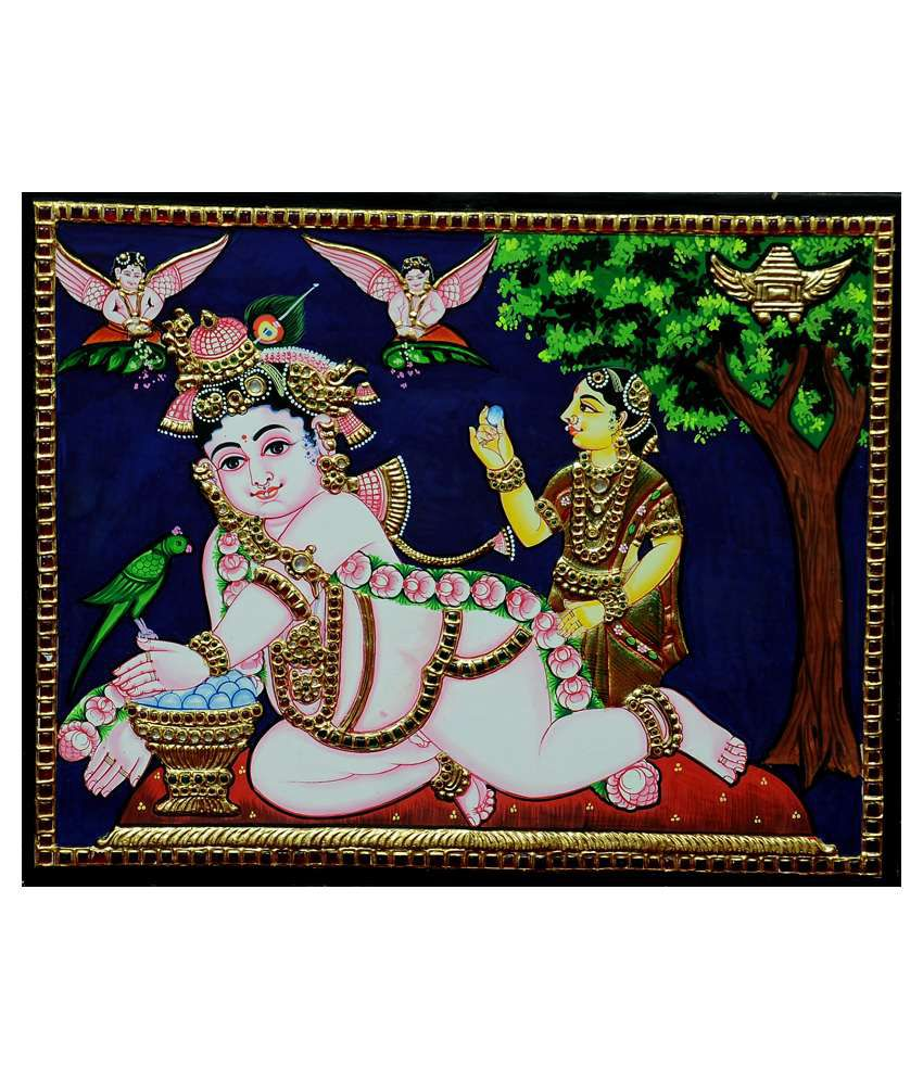 Flashing Rainbows Gold Foiled Thavazhum Krishnar Religious Painting