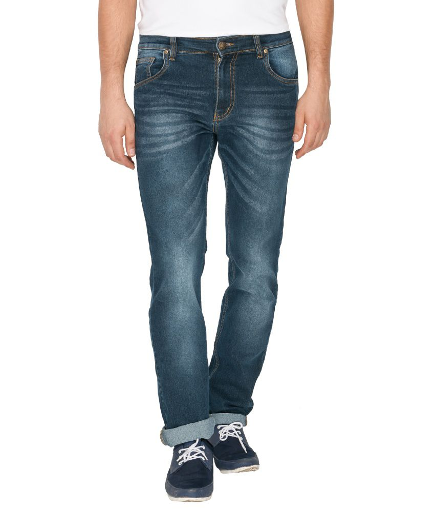 High Star Blue Cotton Blend Jeans