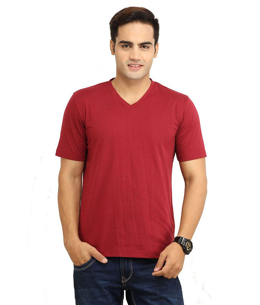 Purple Square Maroon Cotton T- Shirt
