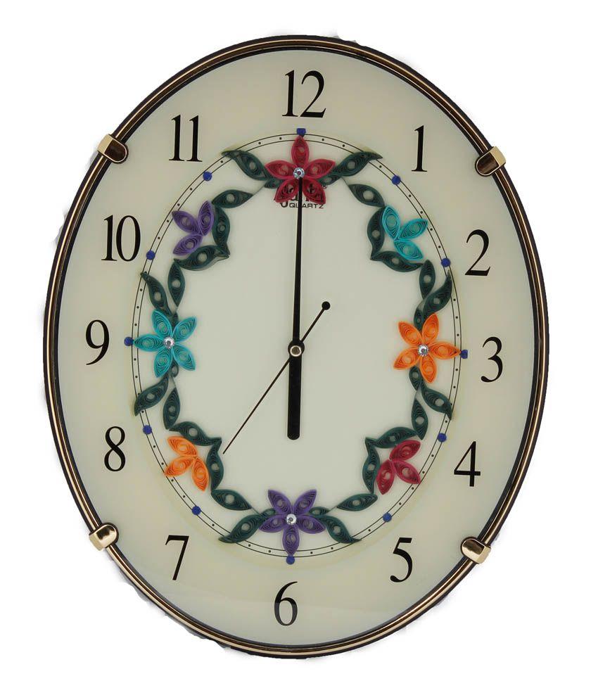 Ajanta Flower Designer Wall Clock N Ivory Buy Ajanta