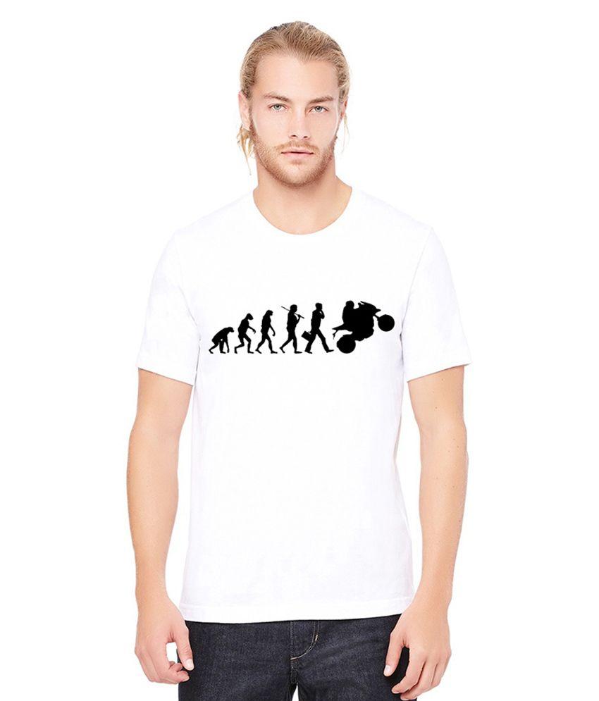 Black On White White Cotton Round Neck T Shirt