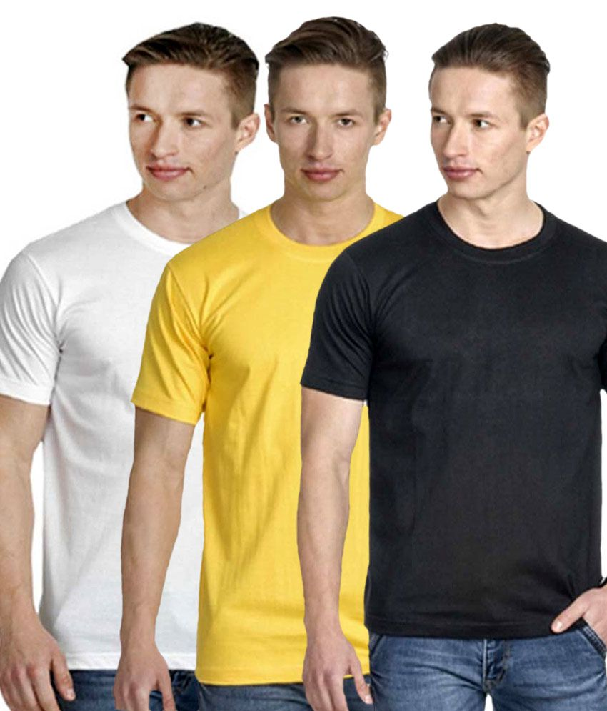 Perfect 10 Multicolour Cotton Blend Round Neck T Shirt Pack Of 3