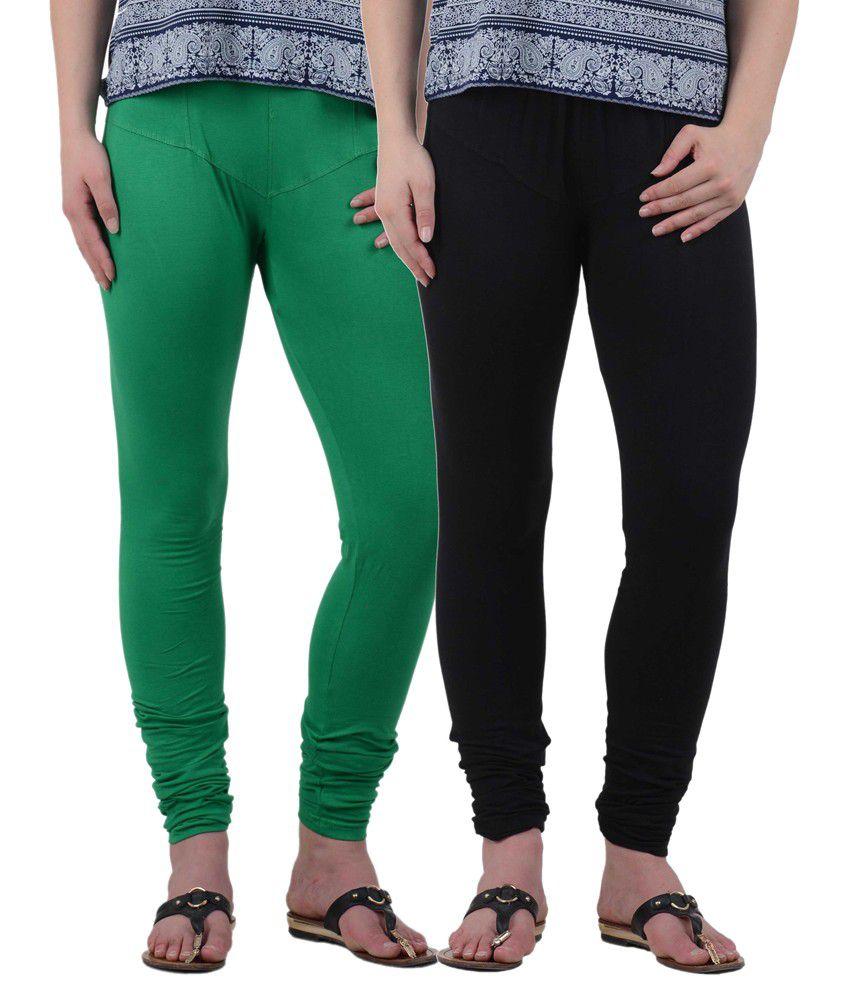 American-Elm Women's Cotton Leggings- Pack Of 2