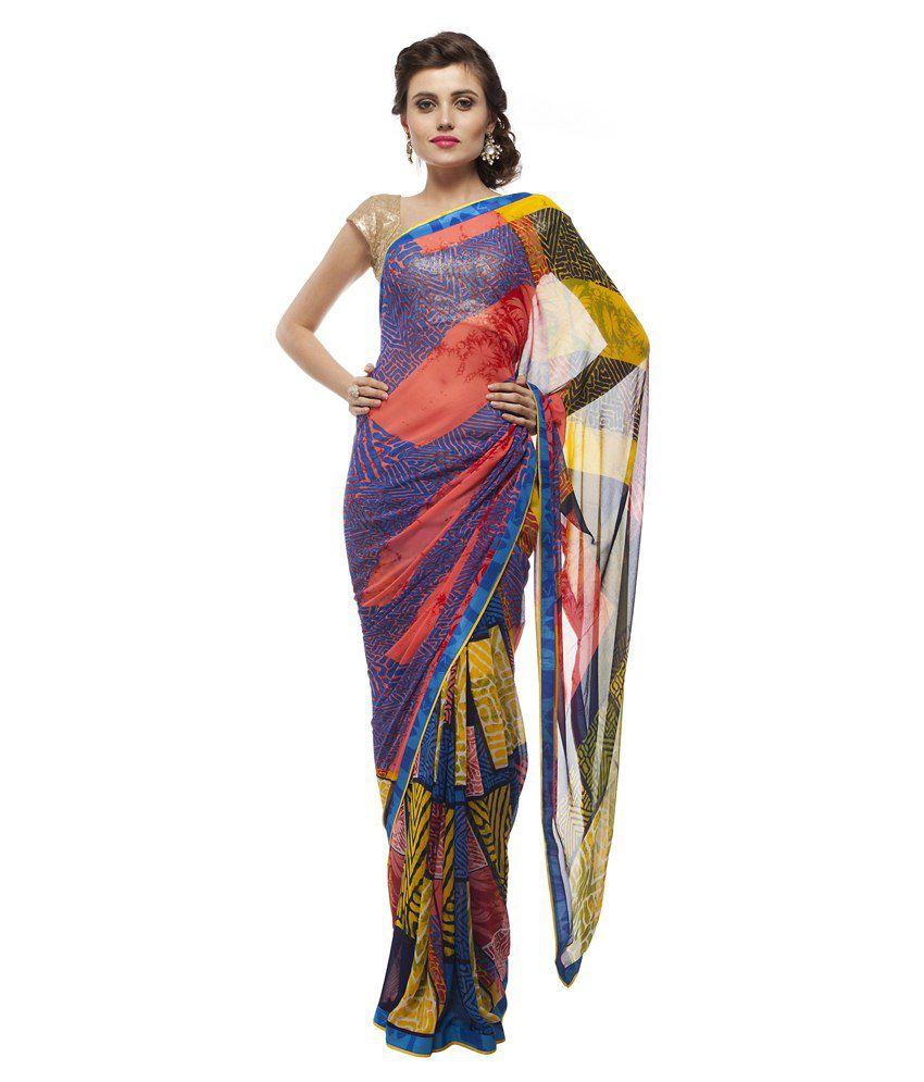 Chhabra 555 Fashion Pvt Ltd Blue Faux Georgette  Saree