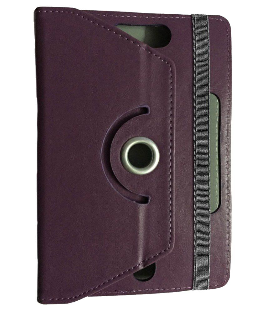 Kolorfame 360 Degree Rotating Leather Flip Cover With Stand For Micromax Funbook Duo P310 - Purple