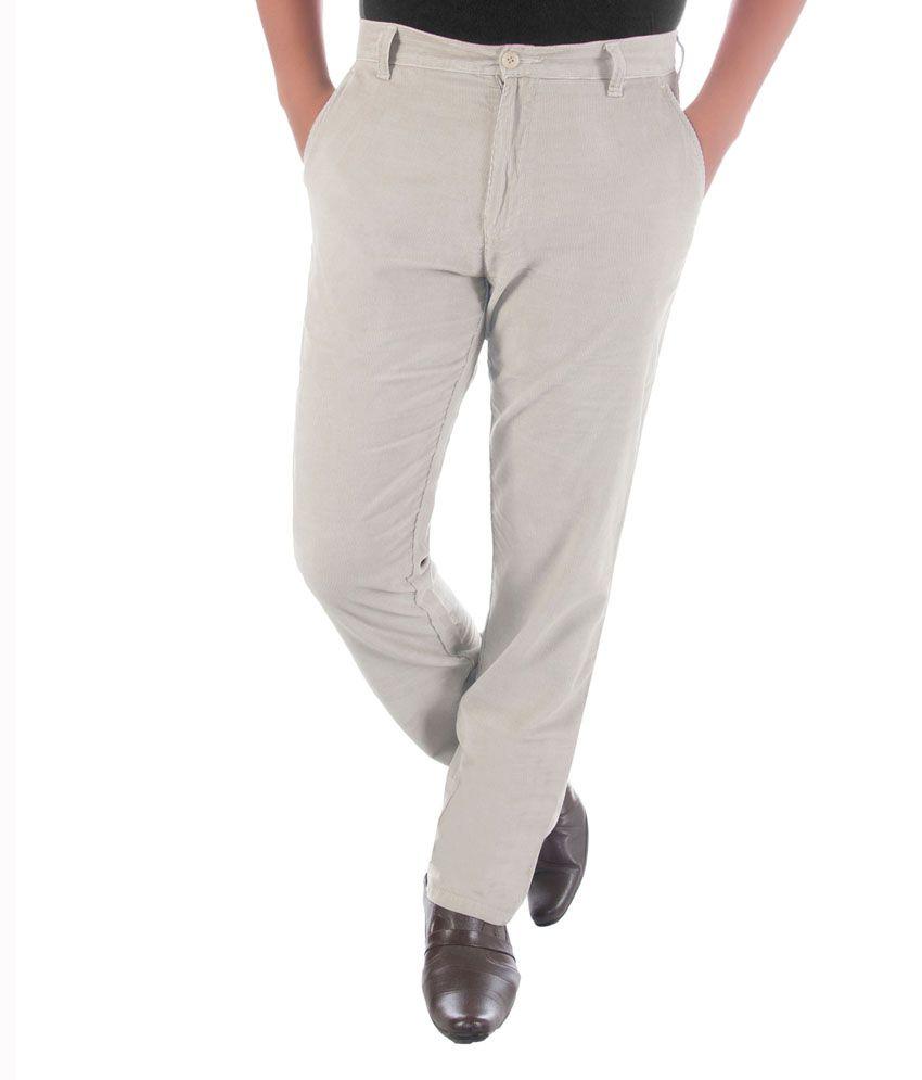 Sakarwala Off-White Corduroy Regular Fit Casual Trouser