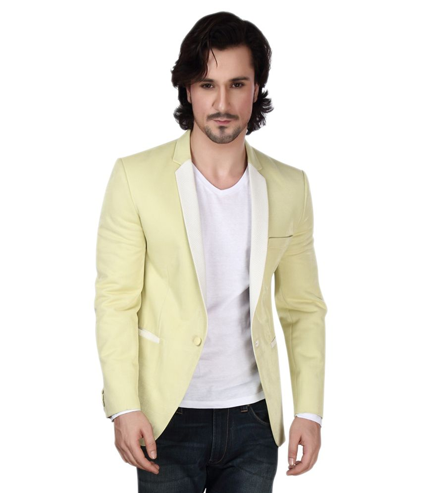 Dheeraj Sharma Yellow Cotton Blend Blazer