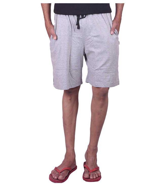 Genx Grey Cotton Shorts