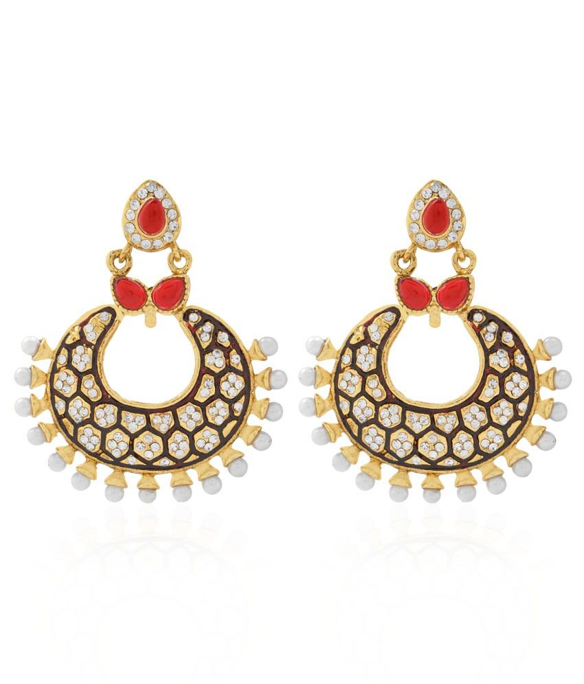 Jewels Galaxy Beautifully Crafted Just Like Diamond Kundan Hanging Earrings