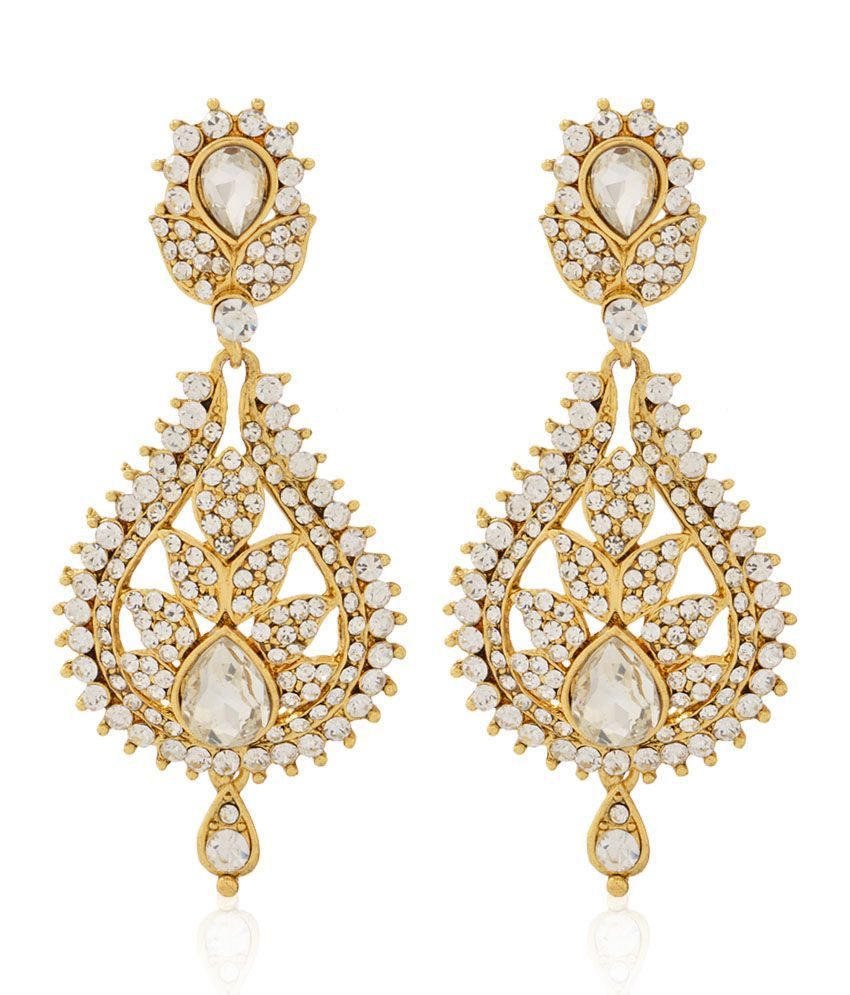 Jewels Galaxy White Beautifully Crafted Just Like Diamond Hanging Earrings
