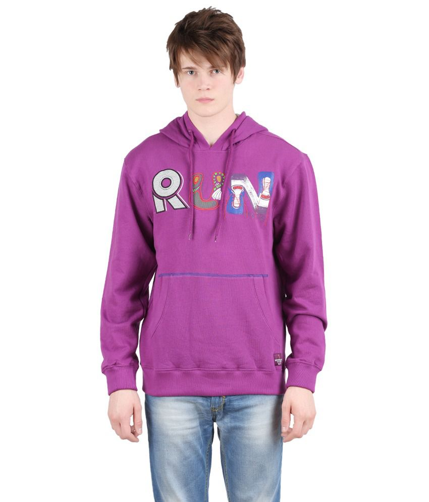 Moonwalker Fleece Violet color Hooded Sweat Shirt