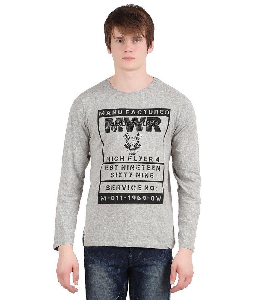 Moonwalker Grey Round Neck T-Shirt