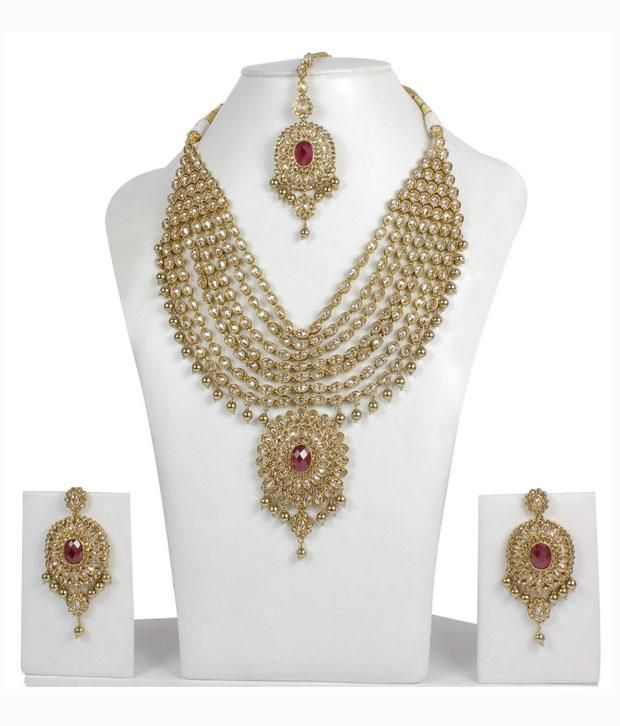 Much More Exclusive Fashion Design Polki Necklace With Earring & Maang Tikka Wedding Jewelry