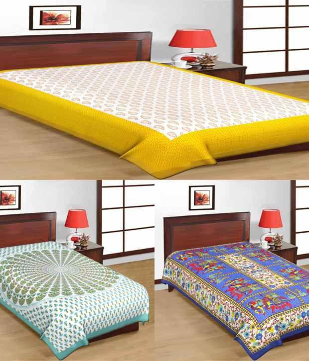 UniqChoice Sanganeri Printed Multi-Color Cotton 3 Single Bed Sheet Combo