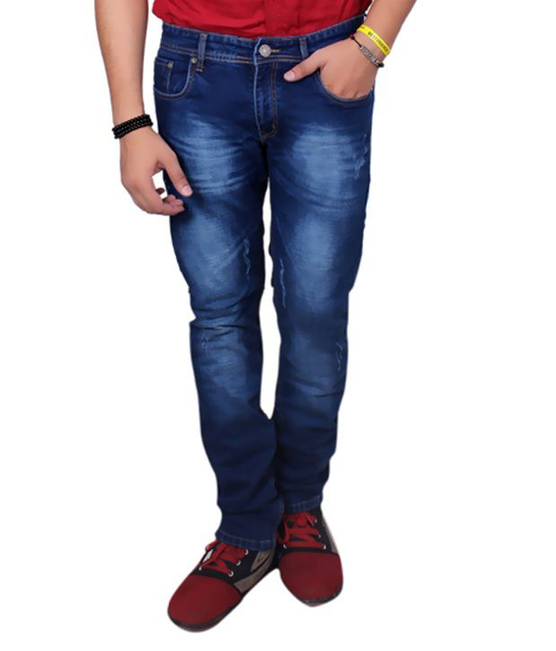 JCTex Blue Cotton Blend Faded Slim Fit Jeans