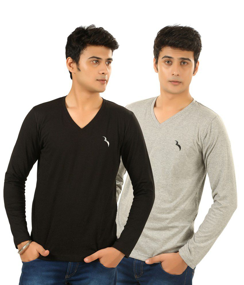 Brownbird Multi Cotton V-neck Full T Shirt Pack Of 2