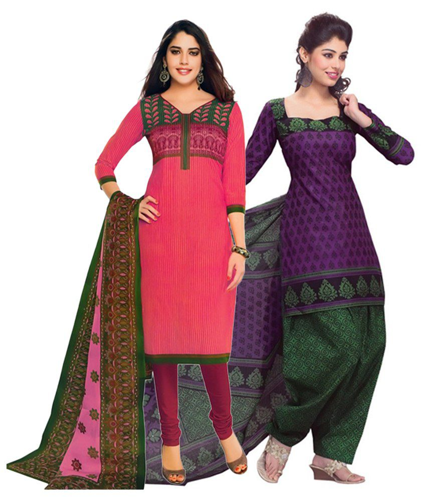 Giftsnfriends Pink & Purple Printed Unstitched Cotton Dress Material (Pack of 2)