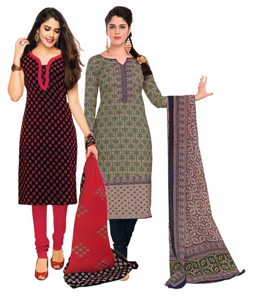 Giftsnfriends Red & Green Printed Unstitched Cotton Dress Material (Pack of 2)