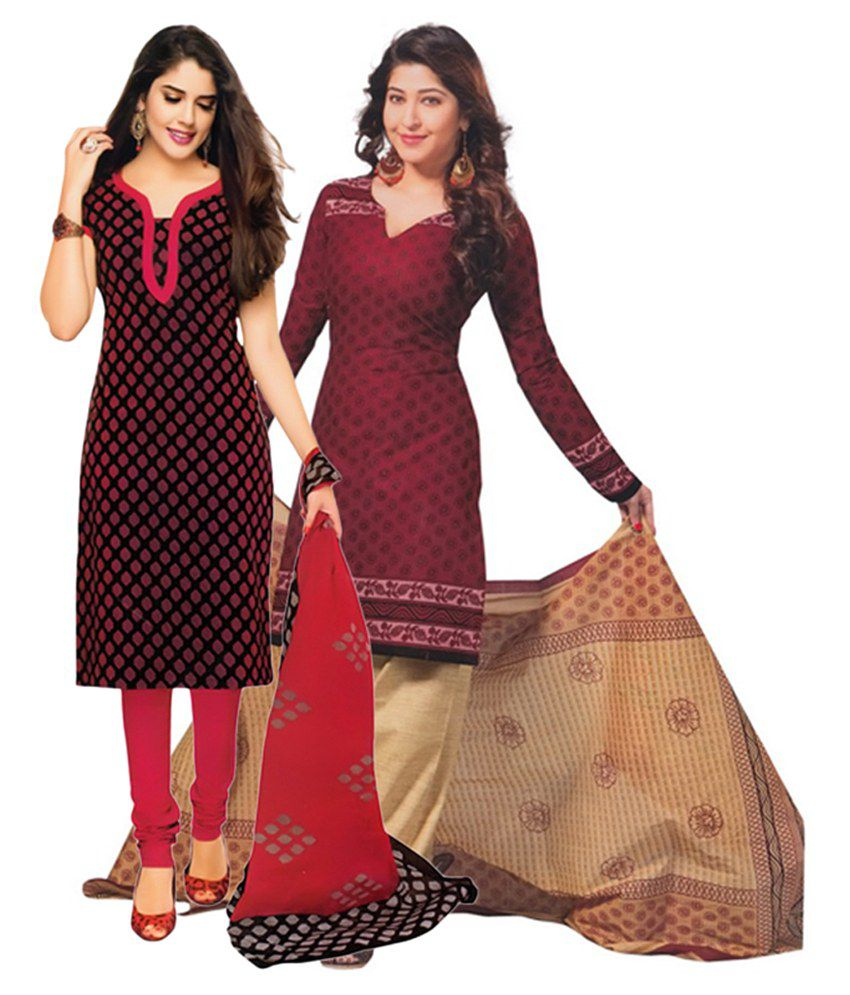 Giftsnfriends Red & Maroon Printed Unstitched Cotton Dress Material (Pack of 2)