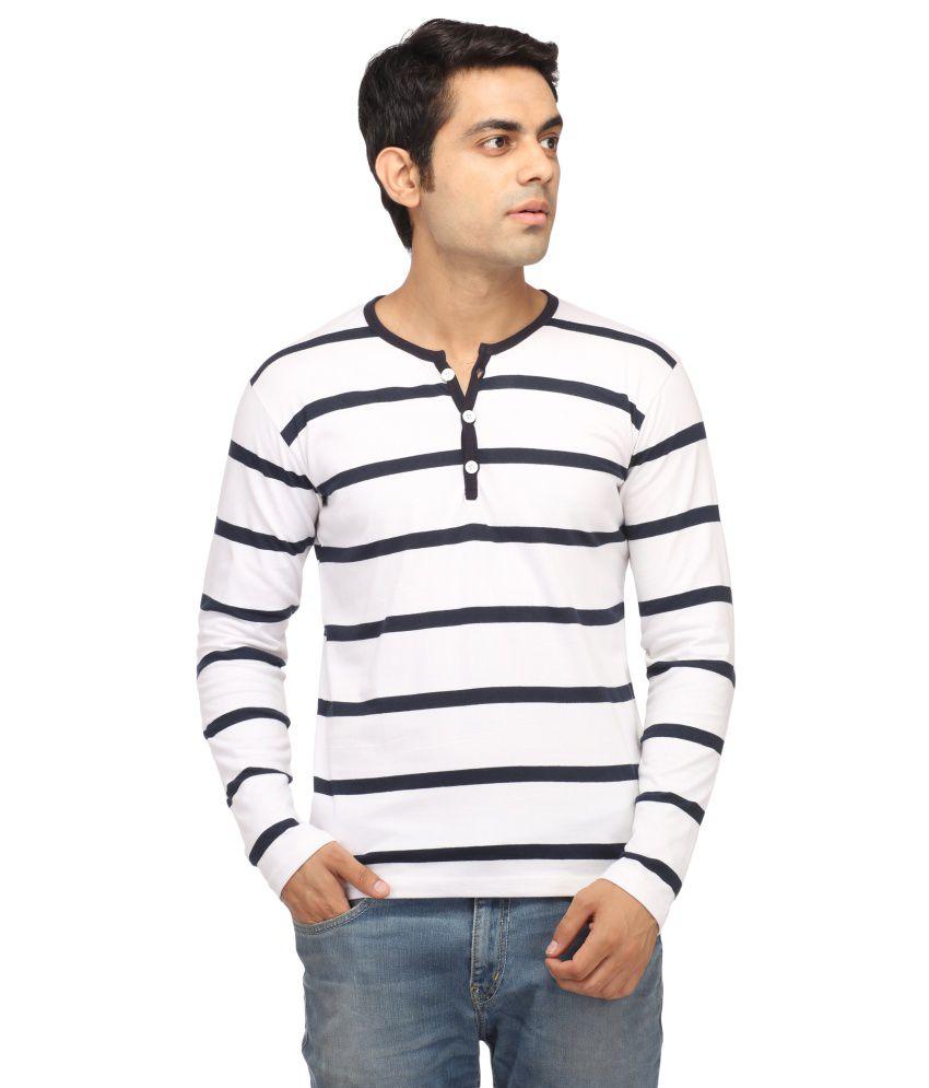 Leana Navy & White Stripe Henley T-Shirt