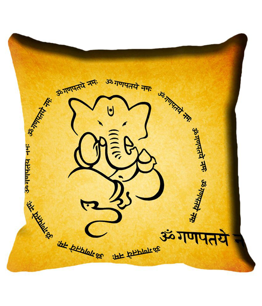 MeSleep Ganesh Chaturthi Digital Printed Cushion Cover