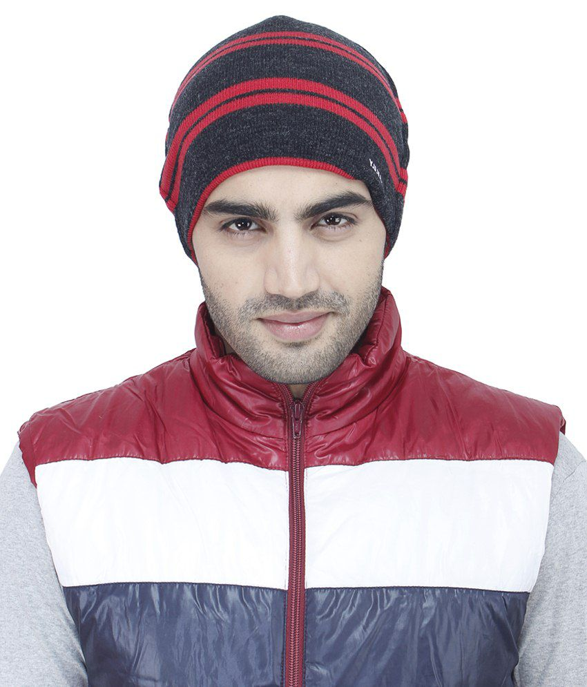 Yuvi Black & Red Woolen Cap