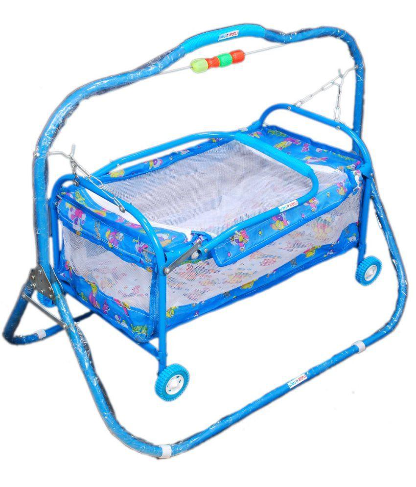 Baby bed online flipkart -  Brats N Angels Sky Blue Baby Cradle Cum Cot Cum Stroller