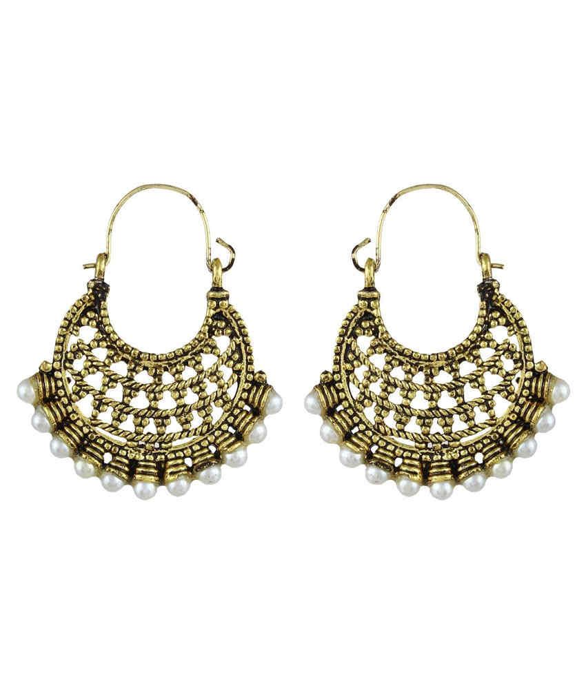 Crazytowear Traditional Pearl Studded Golden Metal Hoop Earring