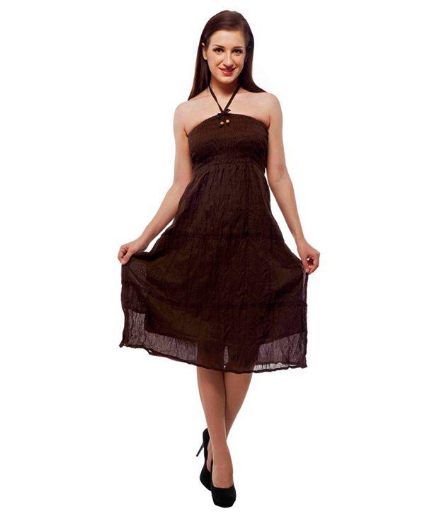 Indi Bargain Cotton Brown A- line Dress