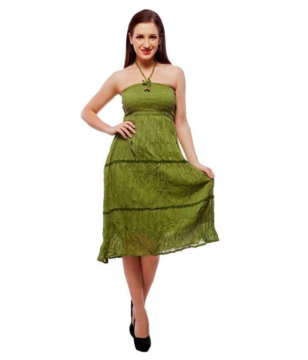 Indi Bargain Plain Cotton Laced 2 in 1 Dress Cum Skirt