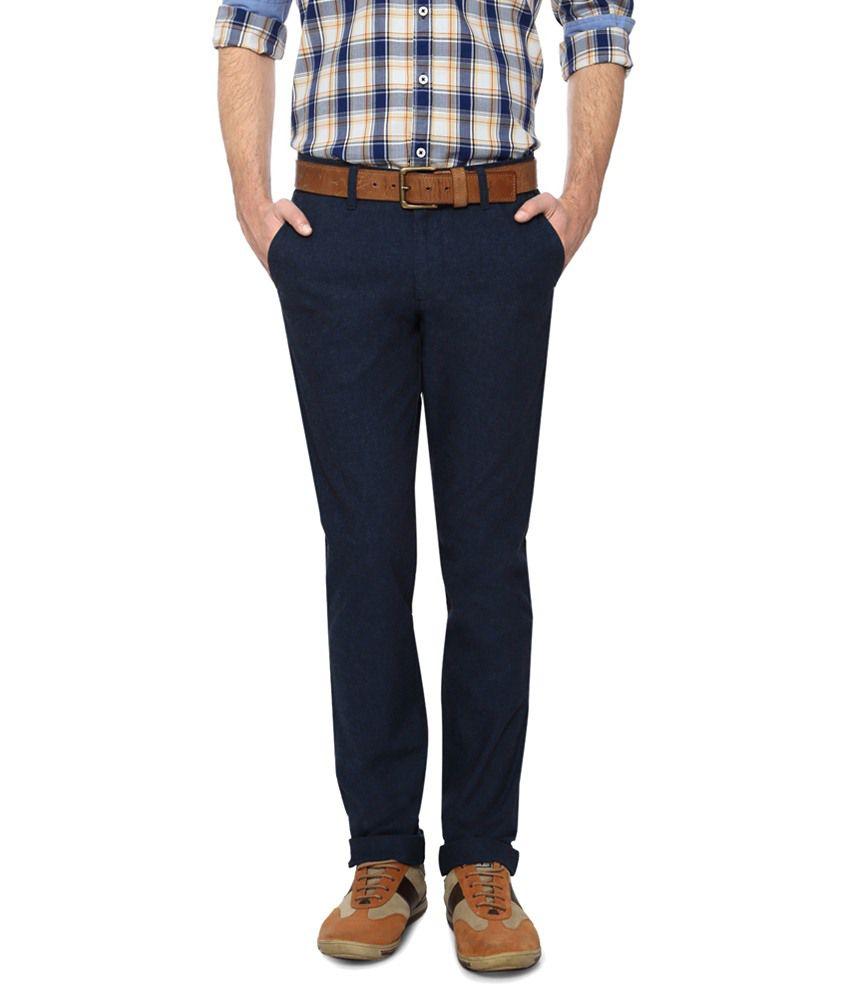 Allen Solly Blue Trouser for Men