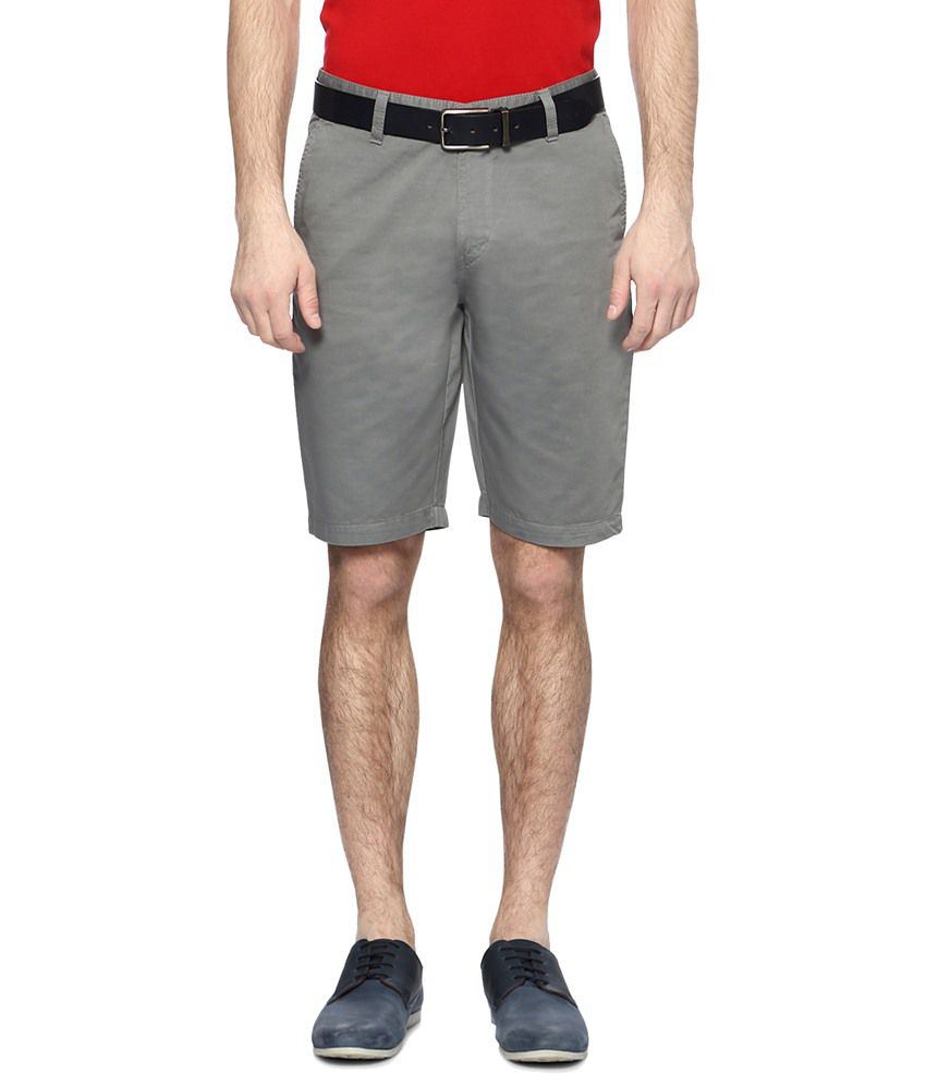 Allen Solly Gray Solid Casual Shorts for Men