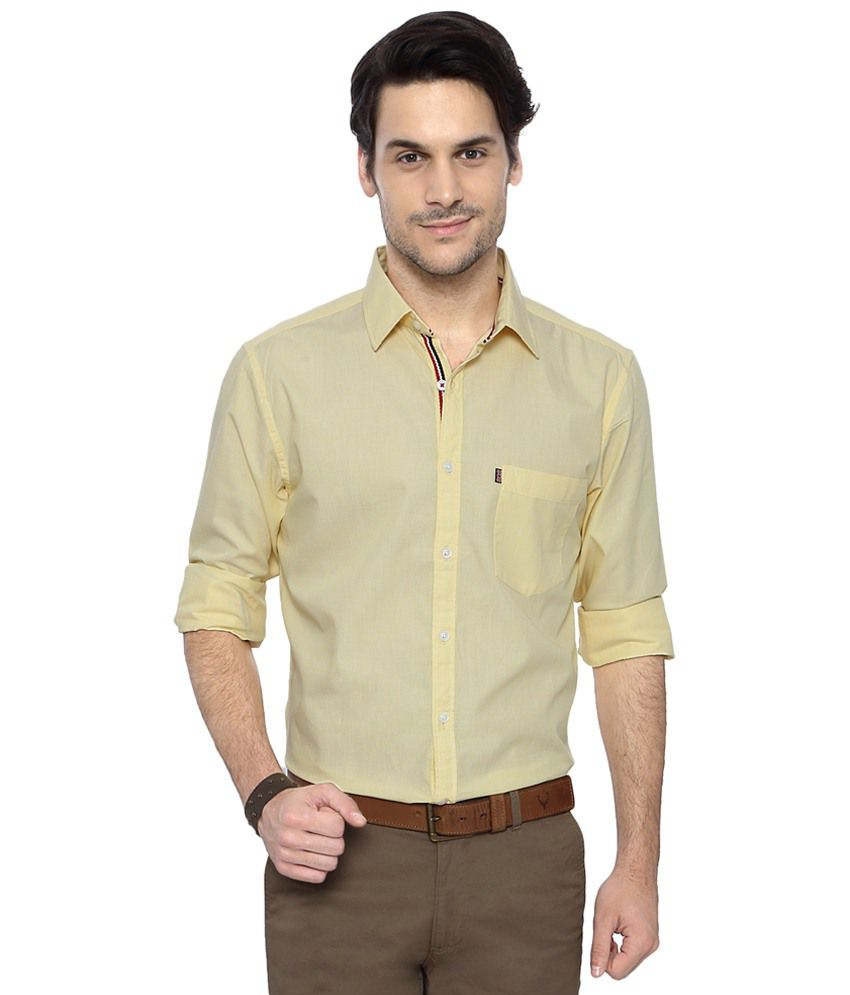 Byford by Pantaloons Yellow Slim Fit Formal Shirt for Men