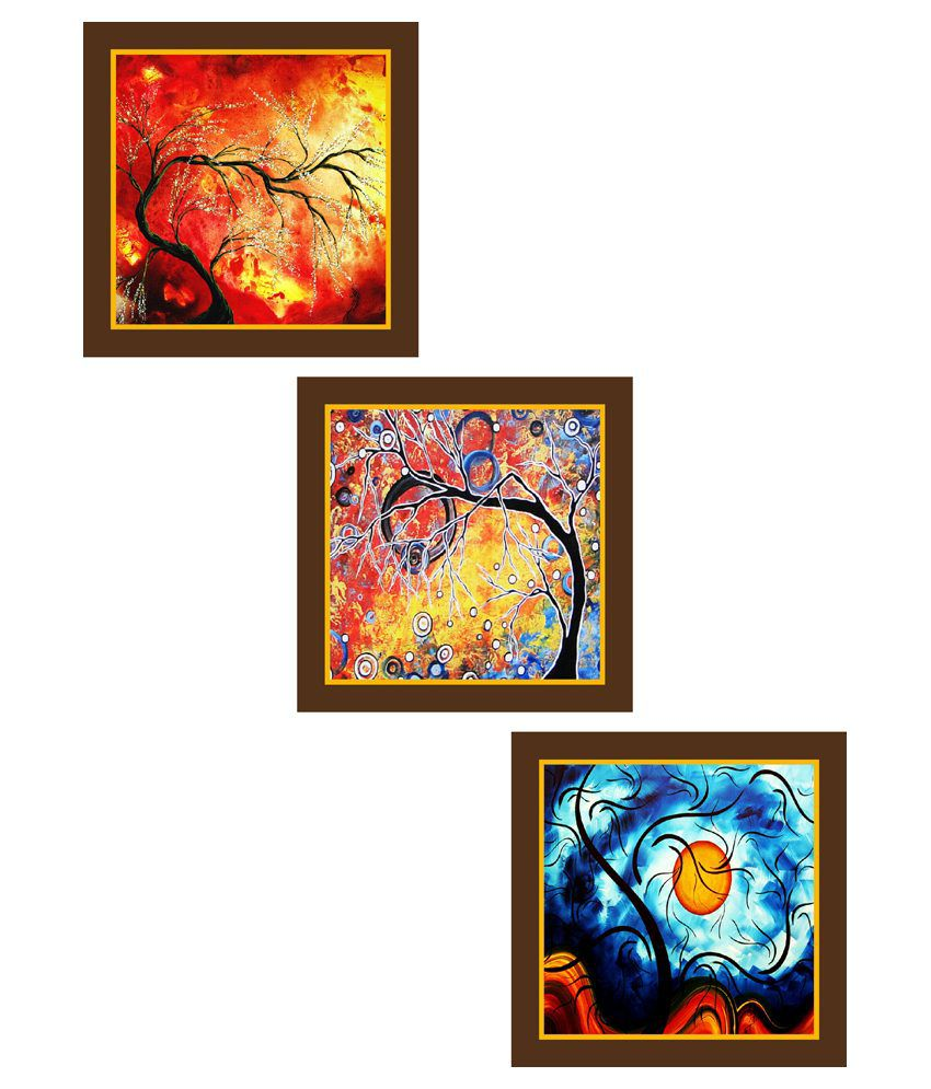 Wall Art Painting With Frame : Go hooked multicolour wooden wall painting with frame set