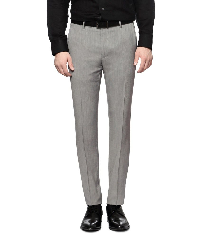 Van Heusen Gray Formal Trouser for Men