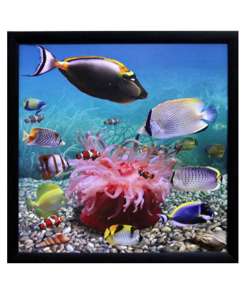eCraftIndia 3D Sea Life view Design Satin Matt Texture Framed UV Art Print