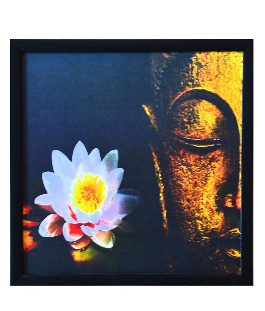 eCraftIndia Meditating Buddha Design Satin Matt Texture Framed UV Art Print