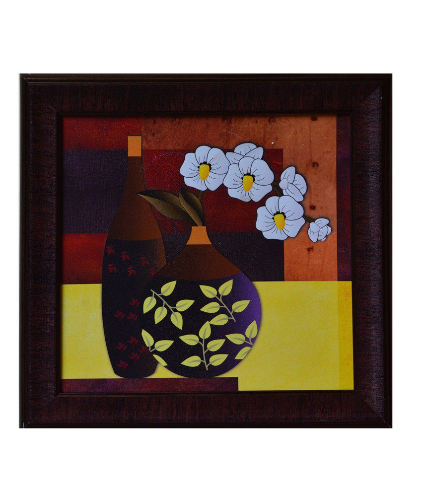 eCraftIndia Brown and Yellow Synthetic Wood Abstract Painting