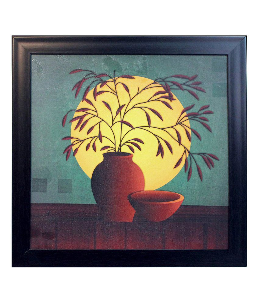 eCraftIndia Brown and Yellow Synthetic Wood Still Life Painting