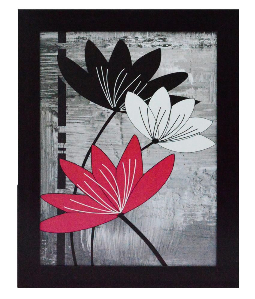 eCraftIndia Flowers Design Satin Matt Texture Framed UV Art Print